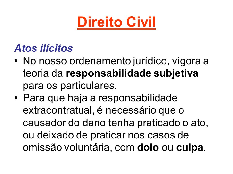 Direito Civil Atos ilícitos