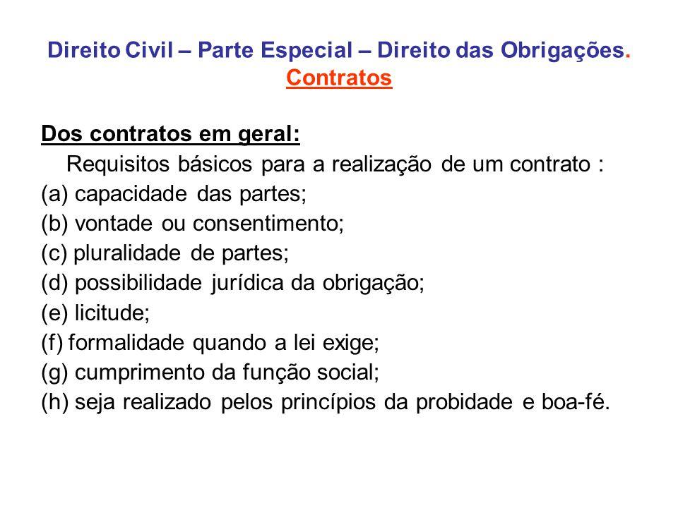 Direito Civil – Parte Especial – Direito das Obrigações. Contratos