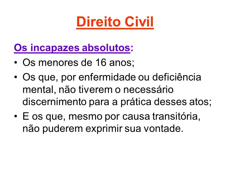 Direito Civil Os incapazes absolutos: Os menores de 16 anos;