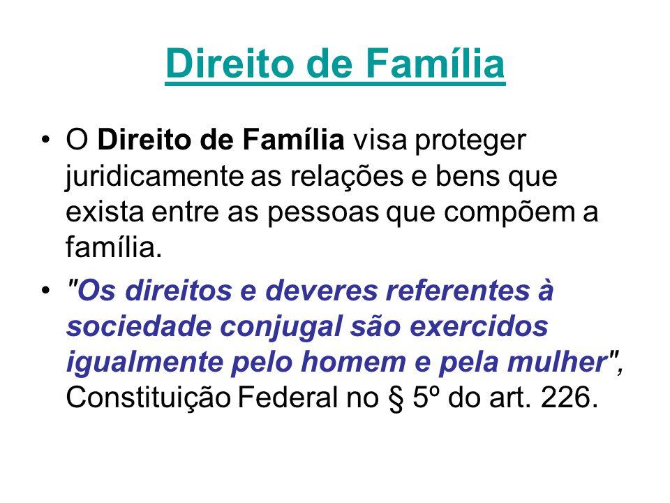 Direito de Família O Direito de Família visa proteger juridicamente as relações e bens que exista entre as pessoas que compõem a família.