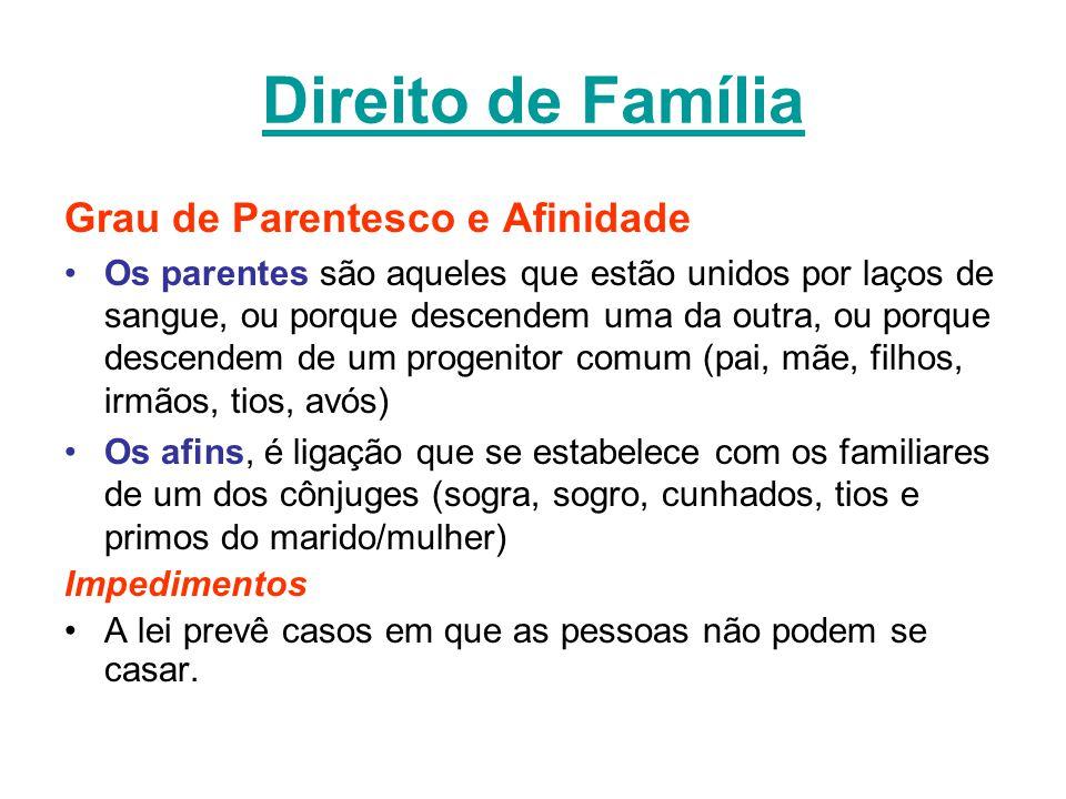 Direito de Família Grau de Parentesco e Afinidade