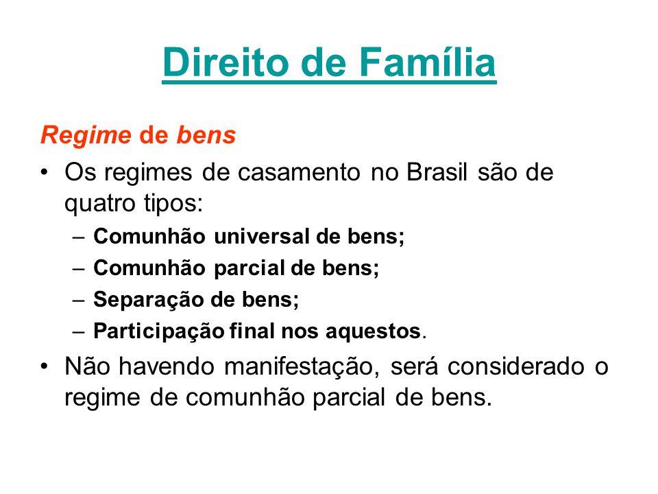 Direito de Família Regime de bens