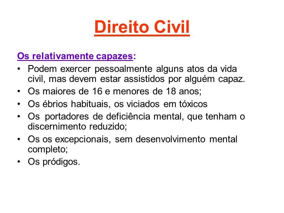 Direito Civil Os relativamente capazes: