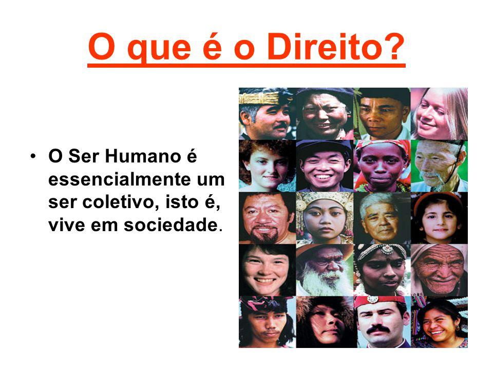 O que é o Direito O Ser Humano é essencialmente um ser coletivo, isto é, vive em sociedade.