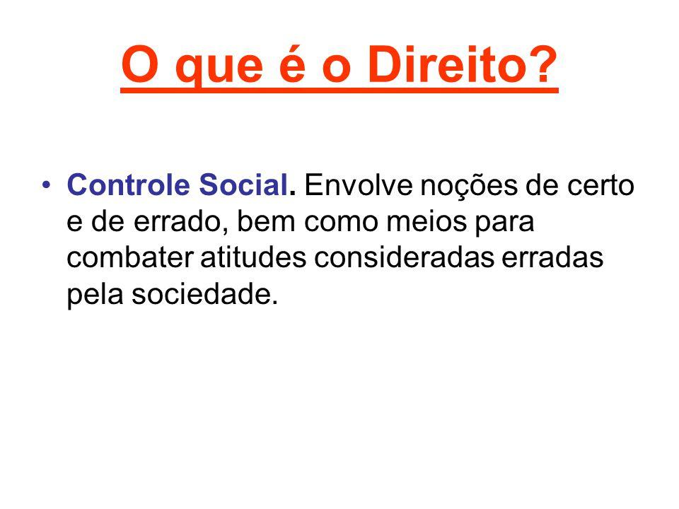 O que é o Direito. Controle Social.