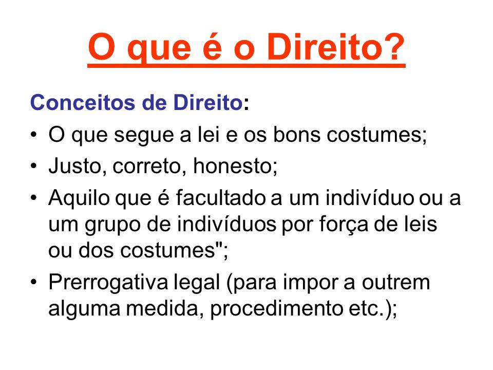 O que é o Direito Conceitos de Direito: