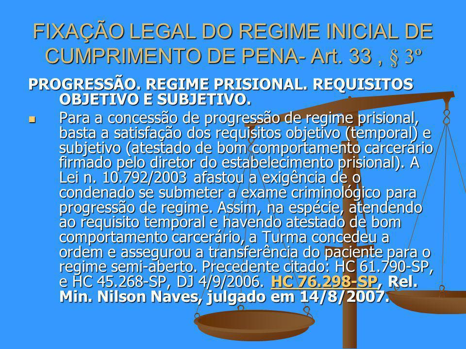 FIXAÇÃO LEGAL DO REGIME INICIAL DE CUMPRIMENTO DE PENA- Art. 33 , § 3º