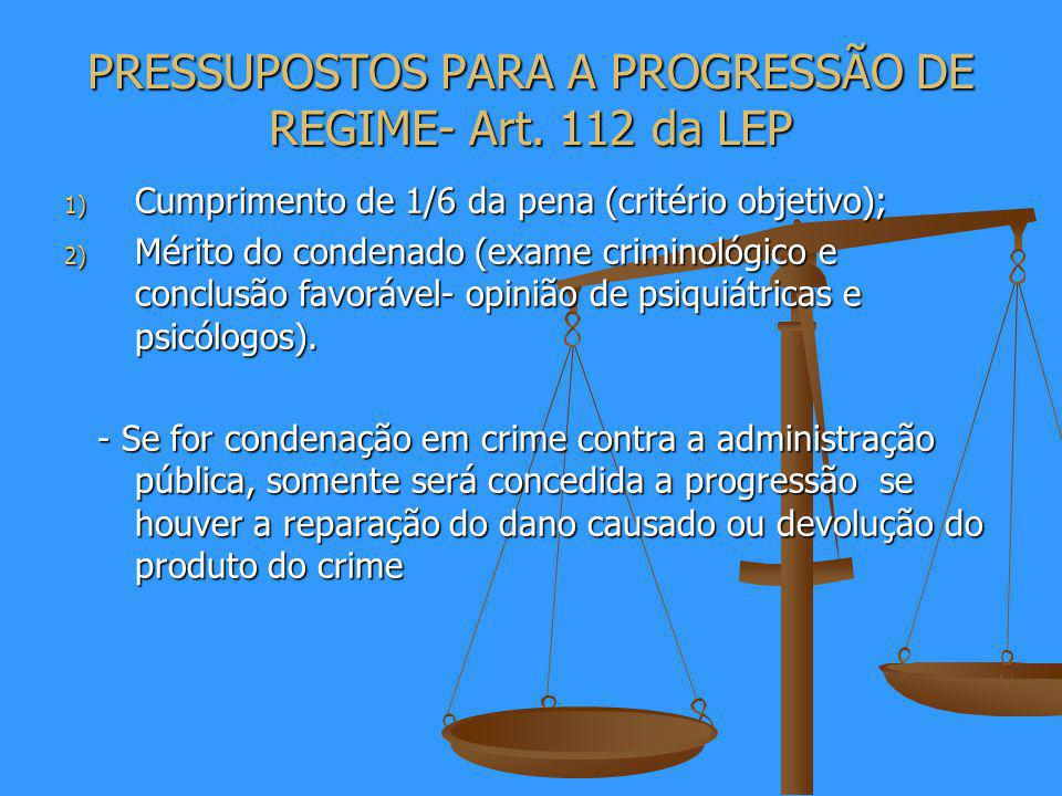 PRESSUPOSTOS PARA A PROGRESSÃO DE REGIME- Art. 112 da LEP