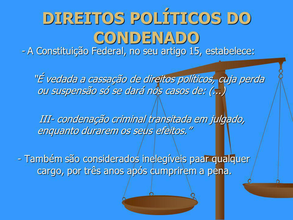DIREITOS POLÍTICOS DO CONDENADO