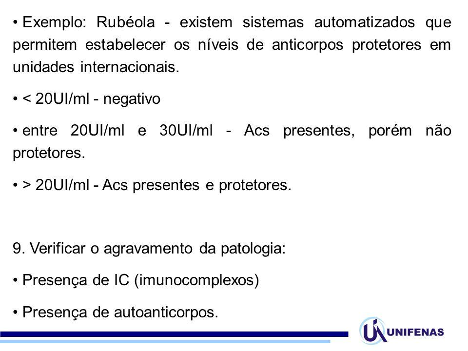 Exemplo: Rubéola - existem sistemas automatizados que permitem estabelecer os níveis de anticorpos protetores em unidades internacionais.