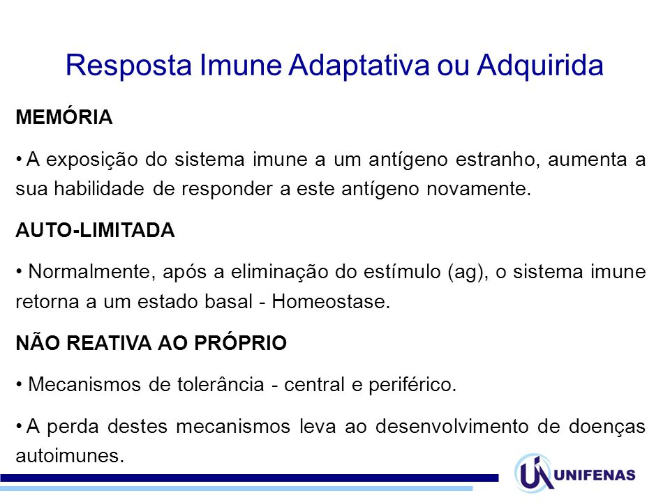 Resposta Imune Adaptativa ou Adquirida
