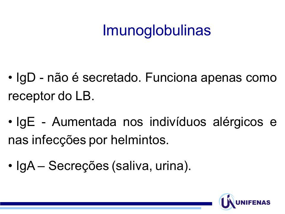 Imunoglobulinas IgD - não é secretado. Funciona apenas como receptor do LB. IgE - Aumentada nos indivíduos alérgicos e nas infecções por helmintos.