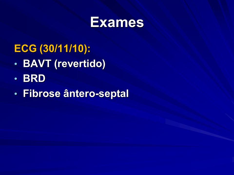 Exames ECG (30/11/10): BAVT (revertido) BRD Fibrose ântero-septal