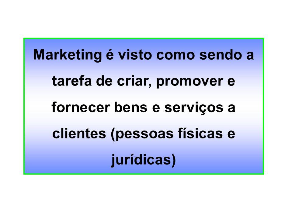 Marketing é visto como sendo a tarefa de criar, promover e fornecer bens e serviços a clientes (pessoas físicas e jurídicas)