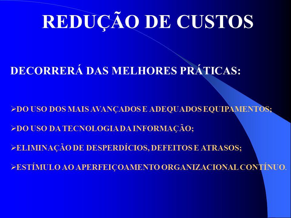 REDUÇÃO DE CUSTOS DECORRERÁ DAS MELHORES PRÁTICAS: