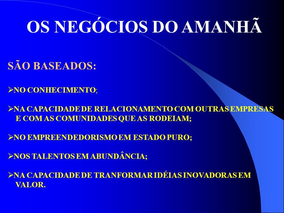 OS NEGÓCIOS DO AMANHÃ SÃO BASEADOS: NO CONHECIMENTO;