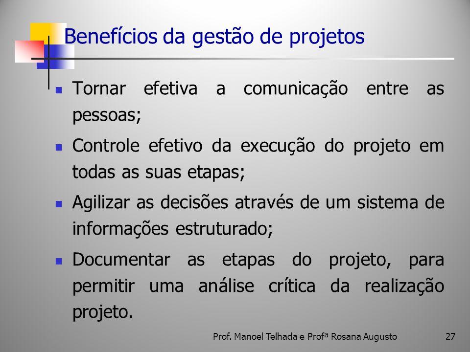 Benefícios da gestão de projetos