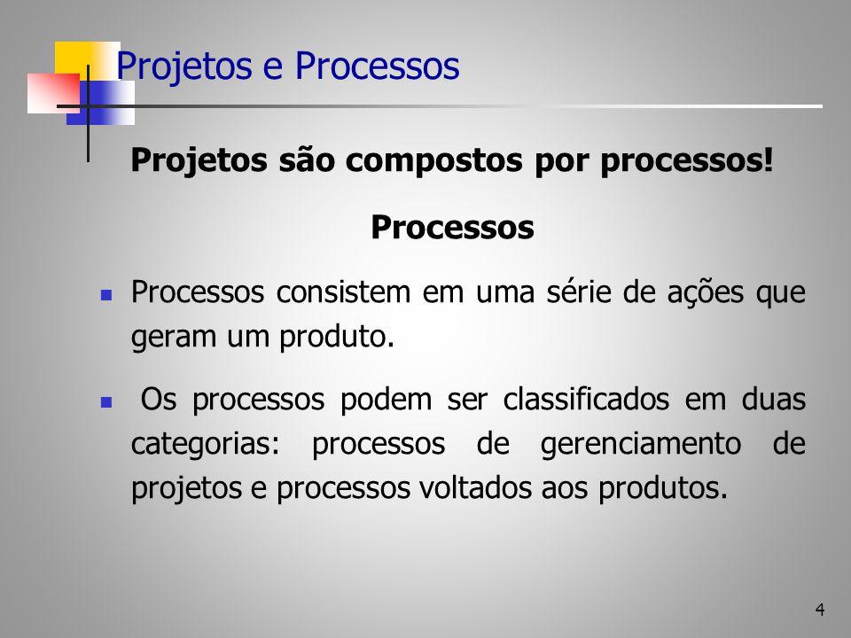 Projetos são compostos por processos!