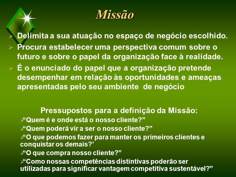 Pressupostos para a definição da Missão: