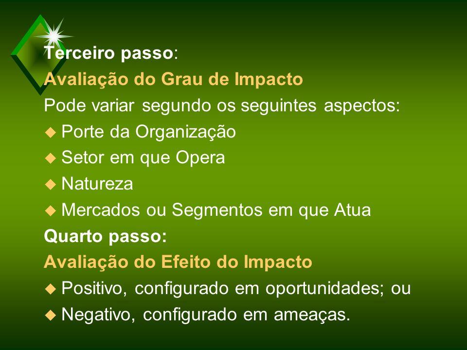 Terceiro passo: Avaliação do Grau de Impacto. Pode variar segundo os seguintes aspectos: Porte da Organização.