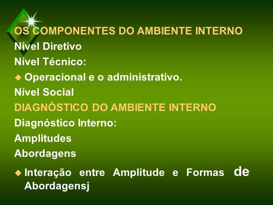 OS COMPONENTES DO AMBIENTE INTERNO