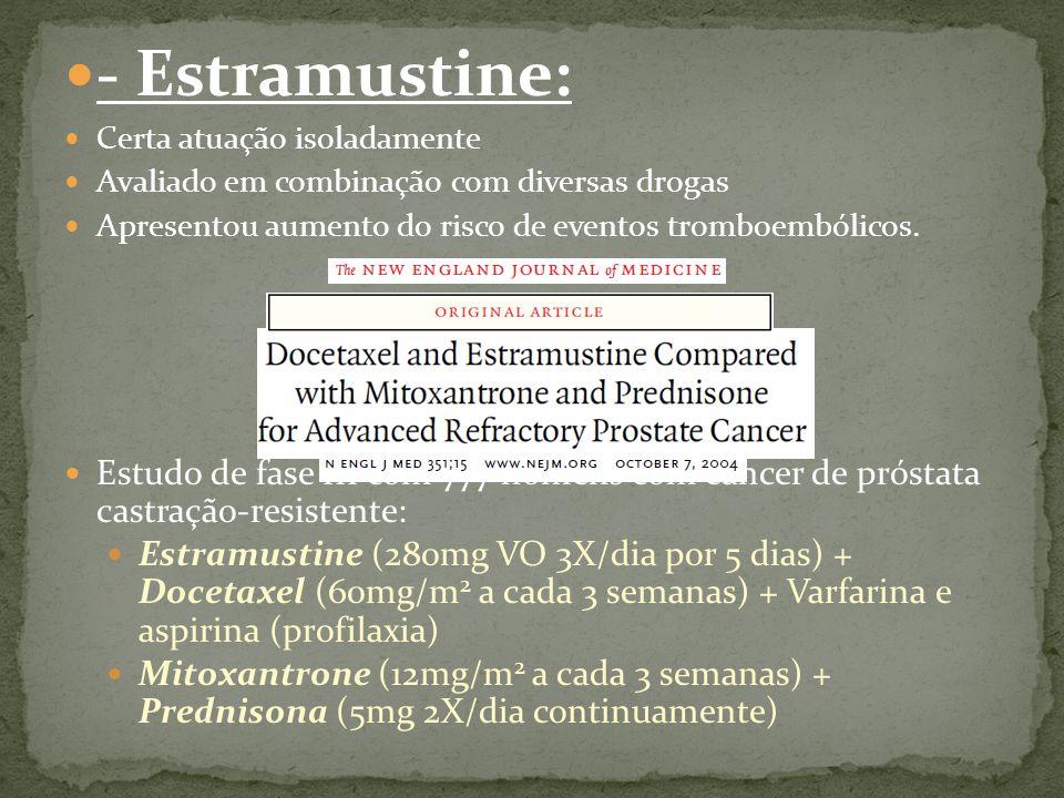 - Estramustine: Certa atuação isoladamente. Avaliado em combinação com diversas drogas. Apresentou aumento do risco de eventos tromboembólicos.