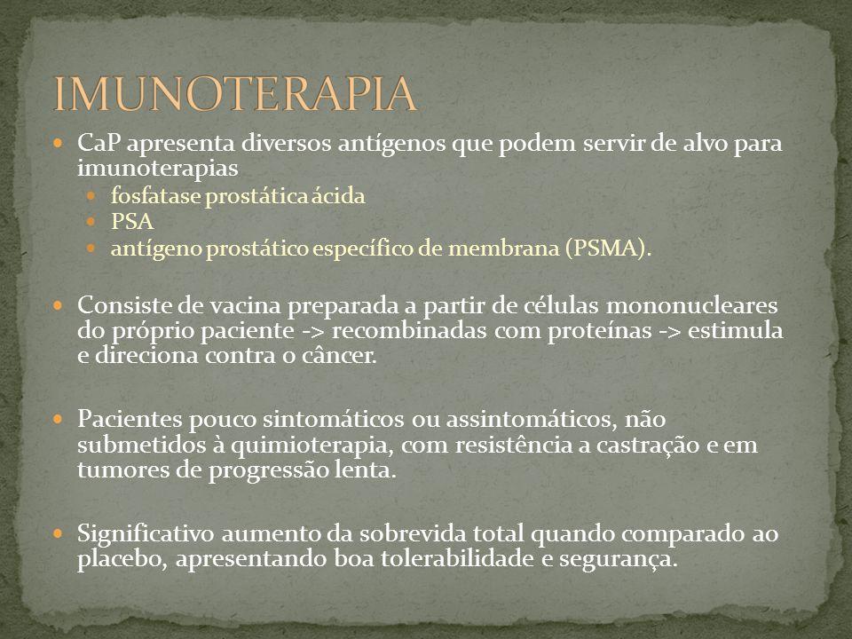 IMUNOTERAPIA CaP apresenta diversos antígenos que podem servir de alvo para imunoterapias. fosfatase prostática ácida.