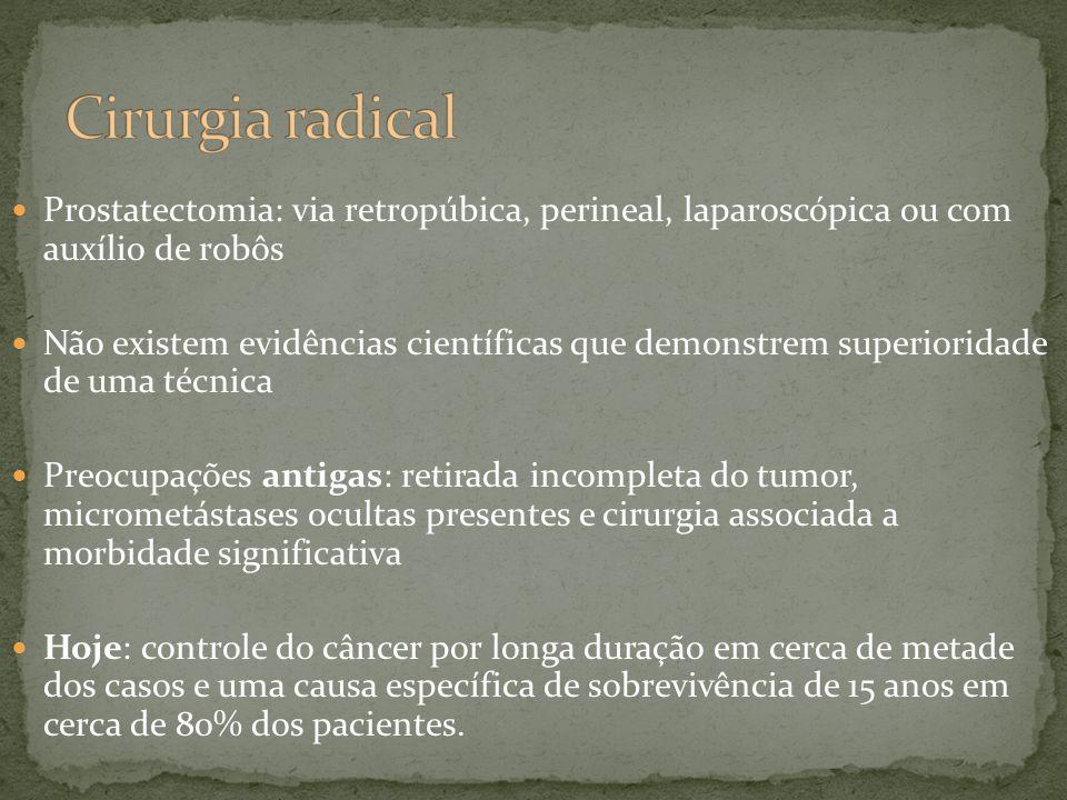 Cirurgia radical Prostatectomia: via retropúbica, perineal, laparoscópica ou com auxílio de robôs.