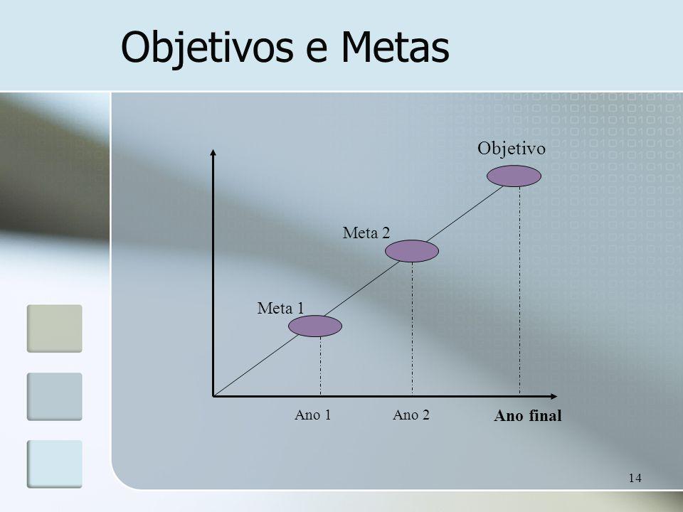 Objetivos e Metas Objetivo Meta 2 Meta 1 Ano 1 Ano 2 Ano final