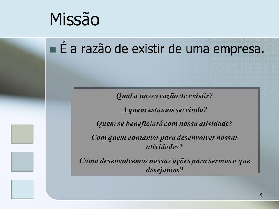 Missão É a razão de existir de uma empresa.