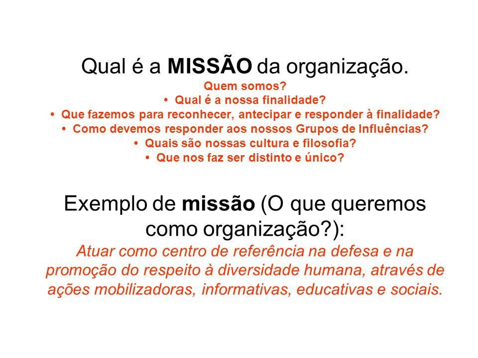 Qual é a MISSÃO da organização. Quem somos. • Qual é a nossa finalidade.