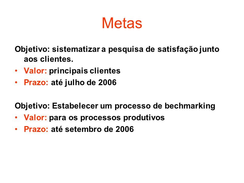 Metas Objetivo: sistematizar a pesquisa de satisfação junto aos clientes. Valor: principais clientes.