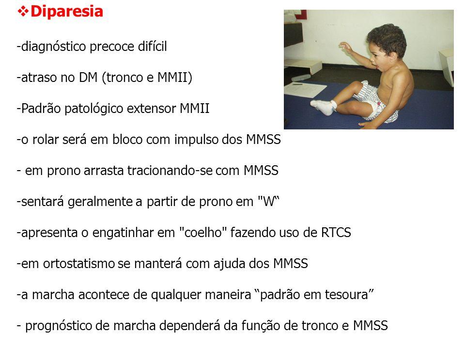 Diparesia diagnóstico precoce difícil atraso no DM (tronco e MMII)