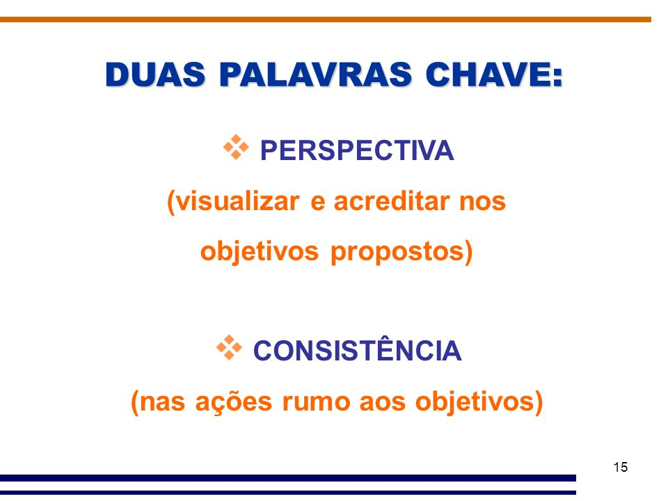 DUAS PALAVRAS CHAVE: PERSPECTIVA