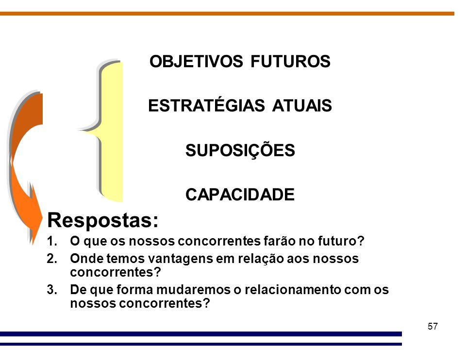 Respostas: OBJETIVOS FUTUROS ESTRATÉGIAS ATUAIS SUPOSIÇÕES CAPACIDADE