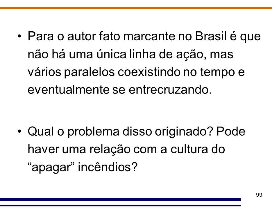 Para o autor fato marcante no Brasil é que não há uma única linha de ação, mas vários paralelos coexistindo no tempo e eventualmente se entrecruzando.