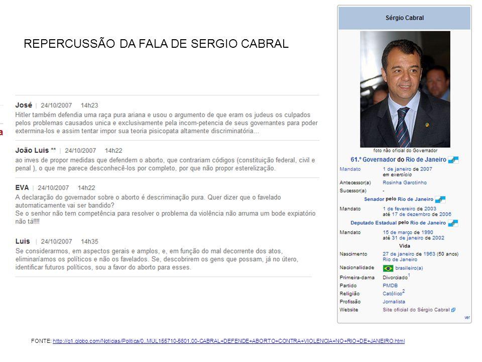 REPERCUSSÃO DA FALA DE SERGIO CABRAL