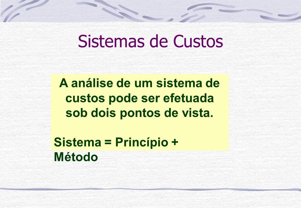 Sistemas de Custos A análise de um sistema de custos pode ser efetuada sob dois pontos de vista.