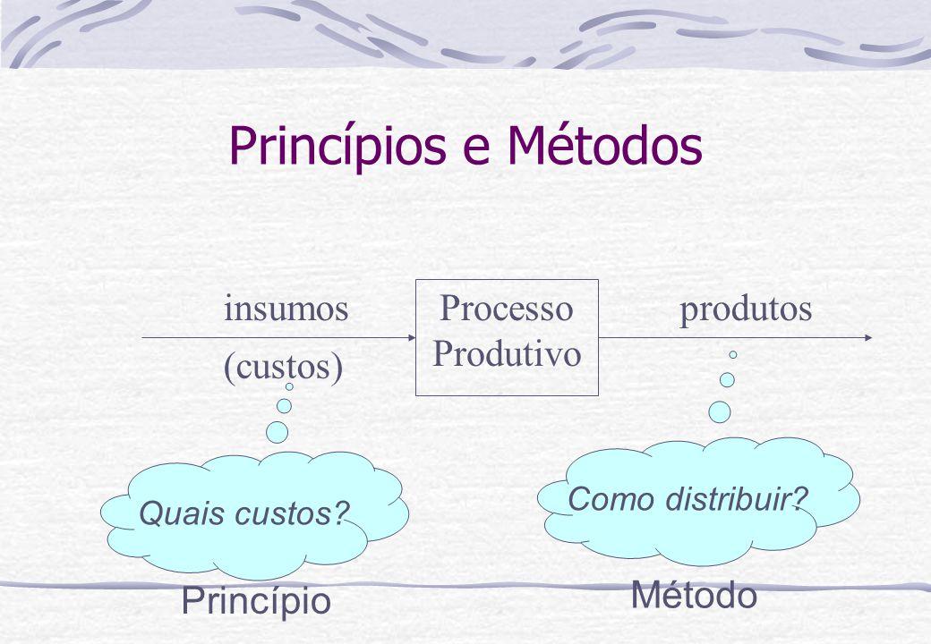 Princípios e Métodos Processo Produtivo insumos (custos) produtos