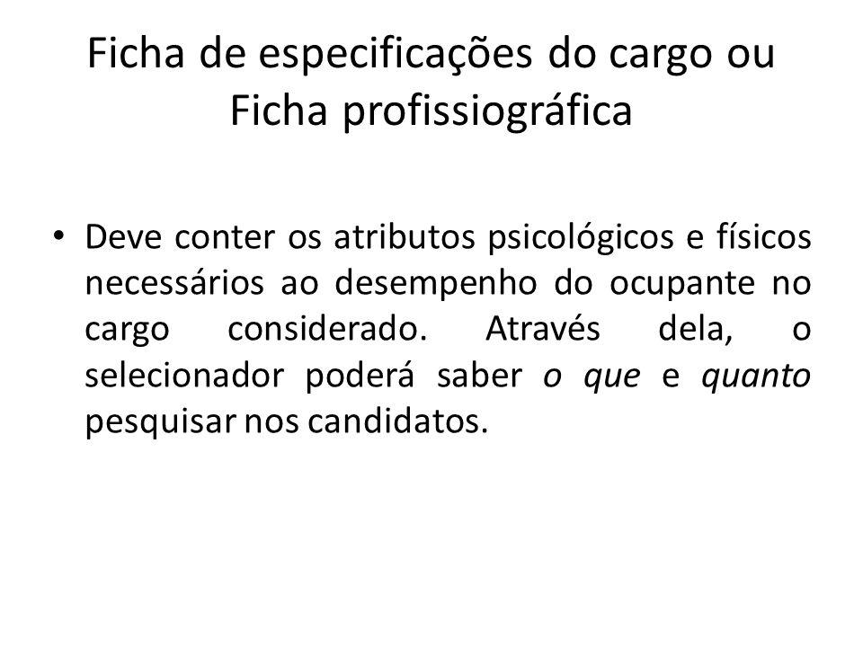 Ficha de especificações do cargo ou Ficha profissiográfica