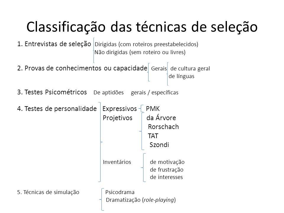 Classificação das técnicas de seleção