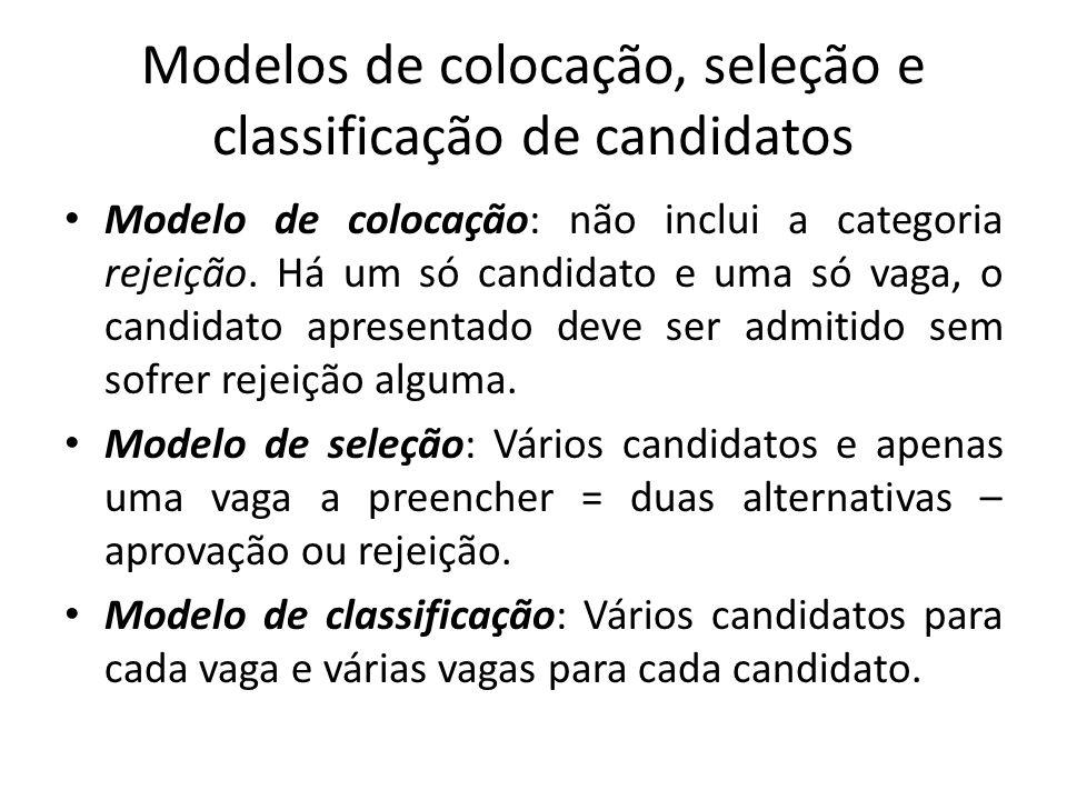 Modelos de colocação, seleção e classificação de candidatos