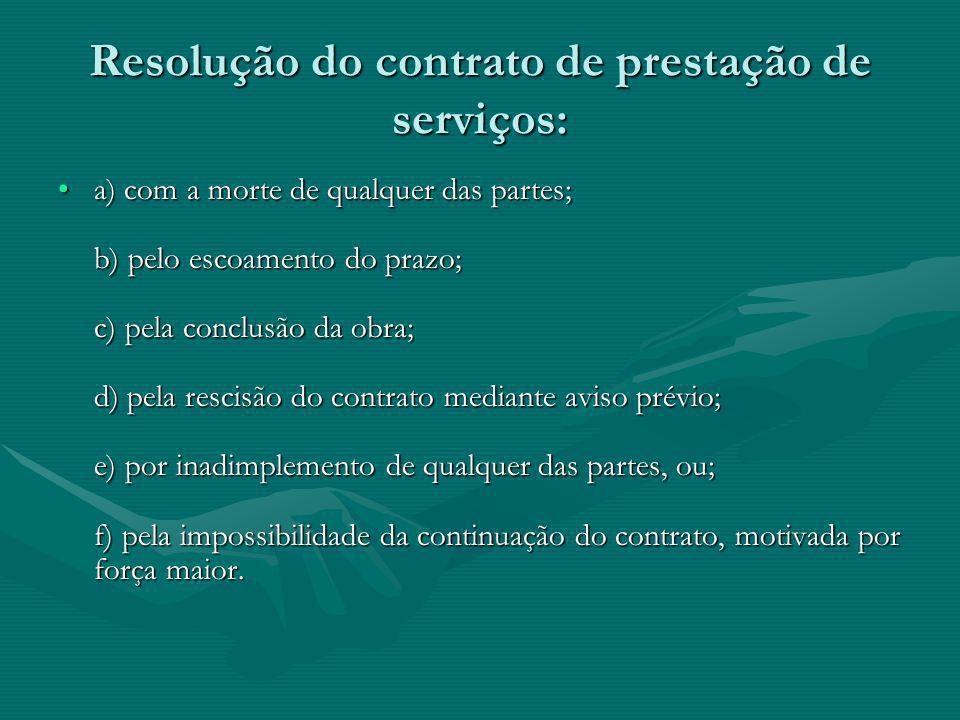 Resolução do contrato de prestação de serviços: