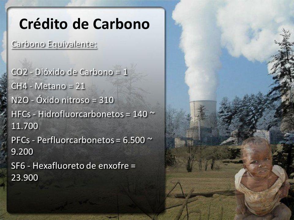 Crédito de Carbono Carbono Equivalente: CO2 - Dióxido de Carbono = 1