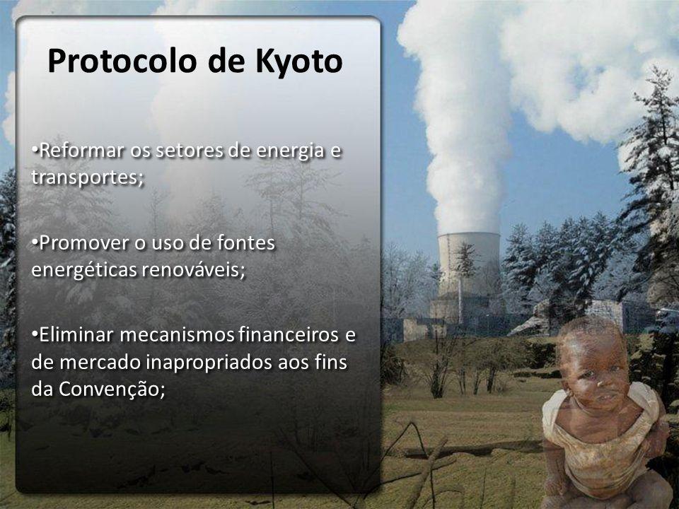Protocolo de Kyoto Reformar os setores de energia e transportes;