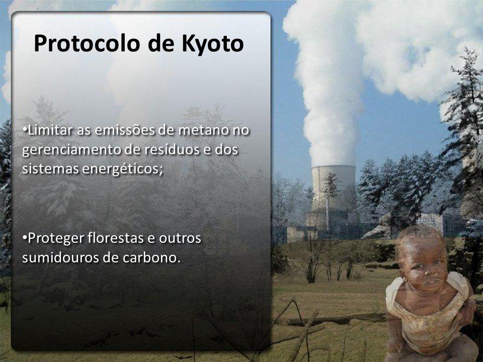 Protocolo de Kyoto Limitar as emissões de metano no gerenciamento de resíduos e dos sistemas energéticos;