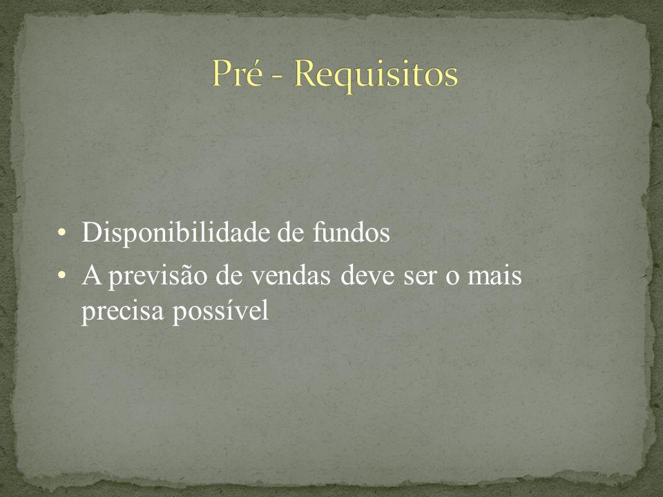 Pré - Requisitos Disponibilidade de fundos