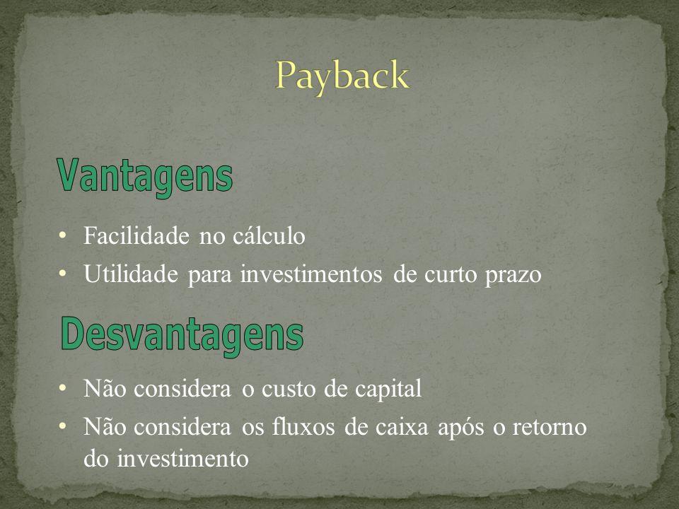 Payback Vantagens Desvantagens Facilidade no cálculo