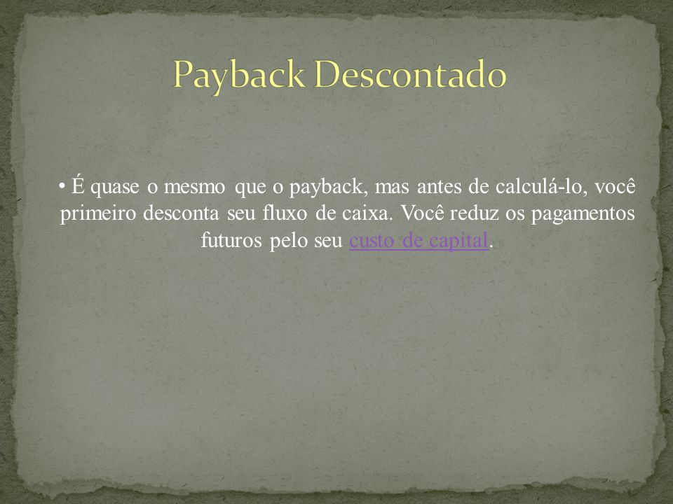 Payback Descontado