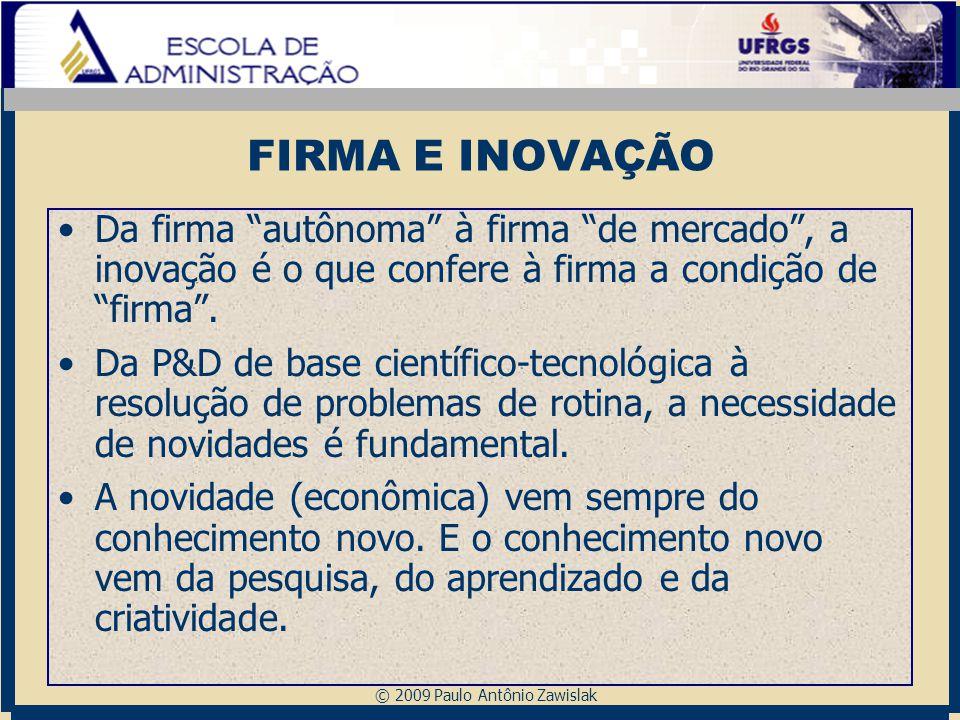 FIRMA E INOVAÇÃO Da firma autônoma à firma de mercado , a inovação é o que confere à firma a condição de firma .